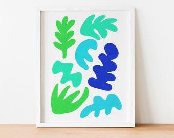"8""x10"" Blue Green Abstract Shapes Art Print"
