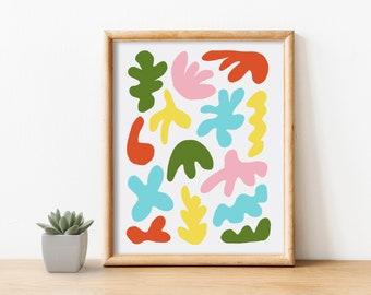 """8""""x10"""" Multicolor Wall Art Print Hand Drawn Colorful Abstract Shapes"""