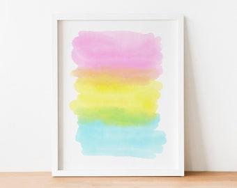 "8""x10"" Rainbow Colors Watercolor Stripes Wall Art Print"