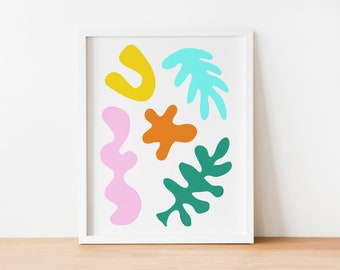 """Colorful Abstract Shapes Art Print 8""""x10"""""""