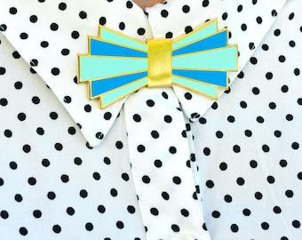 Deco Design Enamel Pin Bow Tie Brooch Blue