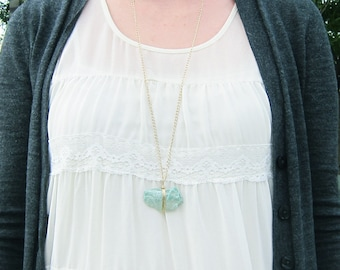 Wire Wrapped Fuchite Necklace Mineral Green Rock Brass Chain Layering Necklace Jewelry