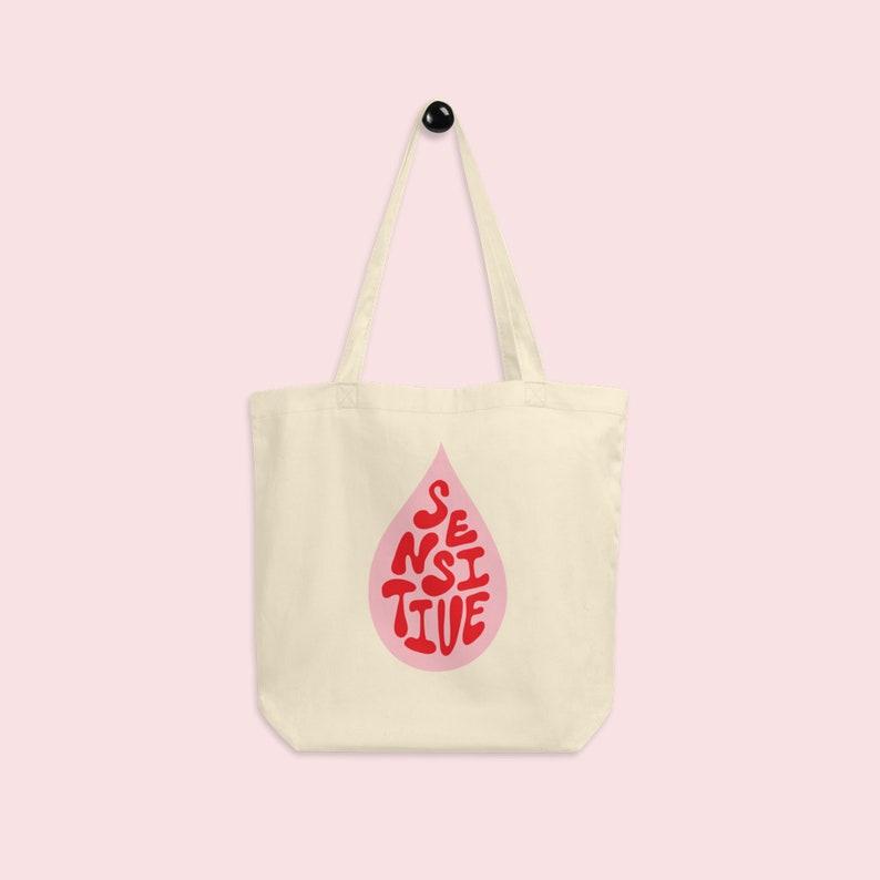Sensitive Hand Lettering Organic Cotton Tote Bag Pink image 0