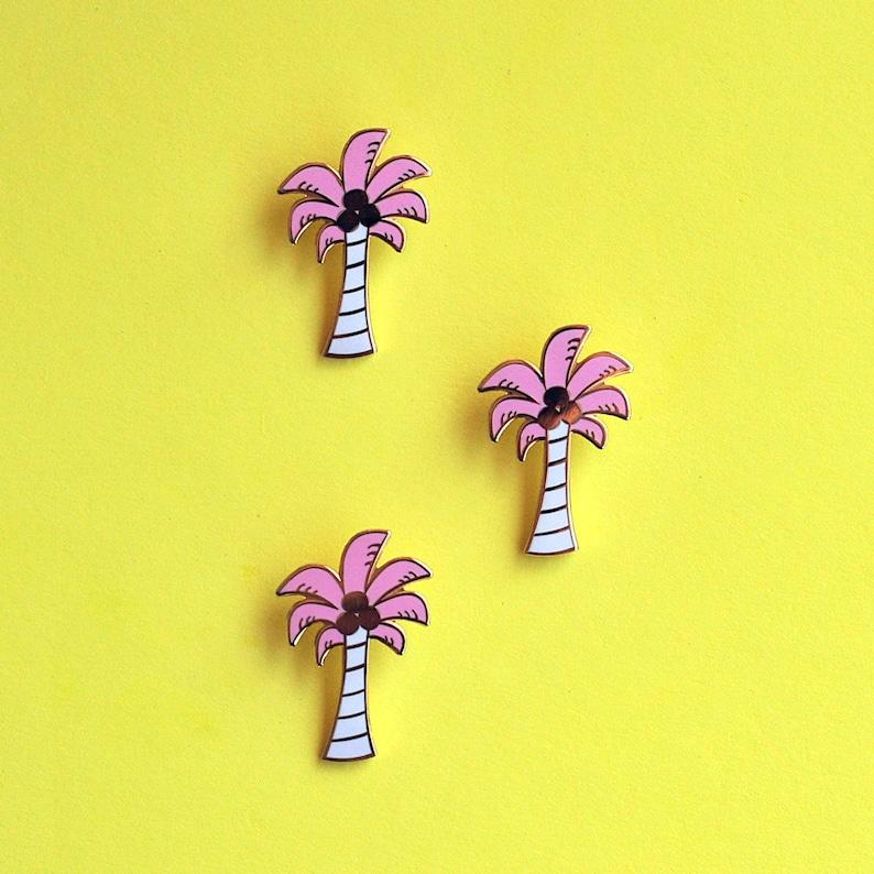 Enamel Pin Palm Tree Pink Gold Palm Springs Tropical image 0