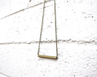 Antique Brass Tube Geometric Necklace Minimalist Layering Brass Chain