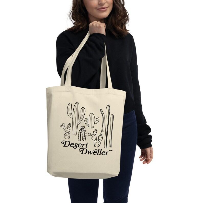 Cactus Desert Dweller Organic Cotton Tote Shopping Bag image 0