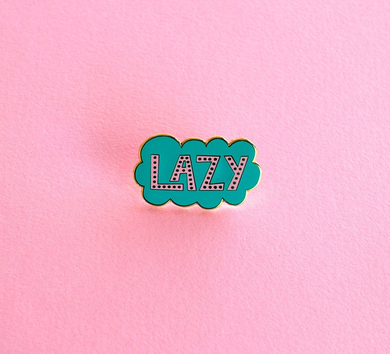 Enamel Pin Hand Lettering Lazy Cloud Gifts under 10 image 0