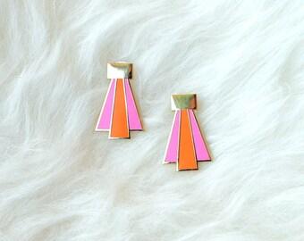 Enamel Earrings Gold Pink Orange Deco Design