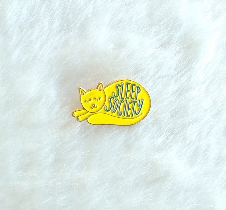 Cat Enamel Pin Lapel Pin Hand Lettering Gifts under 10 image 0