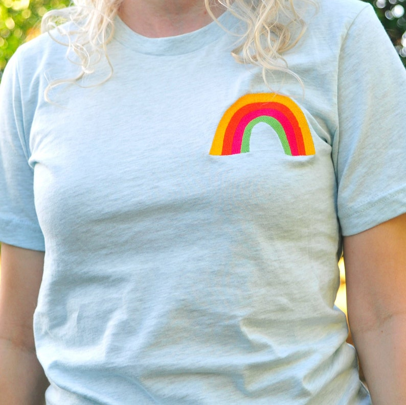 Embroidered Rainbow Pocket Unisex T-Shirt pale blue or white image 0