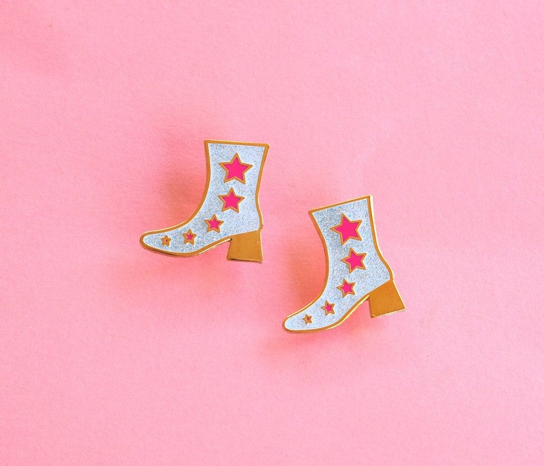 Enamel Pin Disco Boot Glitter Neon Pink Star Gifts under 10 image 0