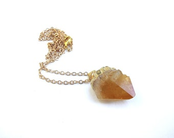 Citrine Drop Gold Plated Brass Chain Necklace Orange