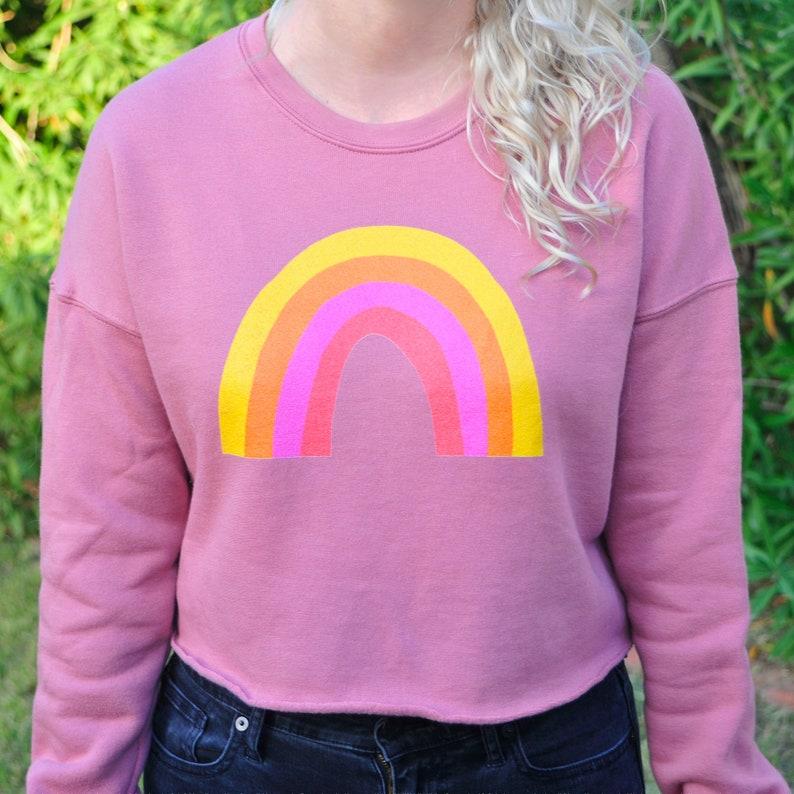 Rainbow Crop Top Cropped Sweatshirt Mauve Black image 0
