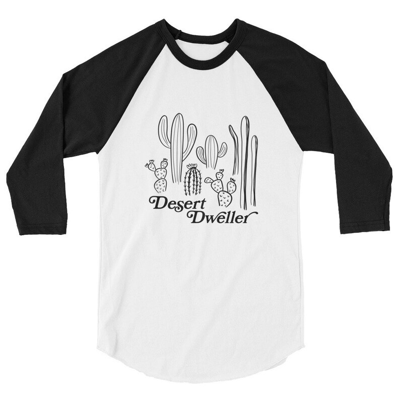 Desert Dweller T shirt Cactus art Unisex Raglan Shirt 6 image 0