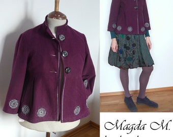 Purple women recycled japanese Jackets ,decorative quilting....