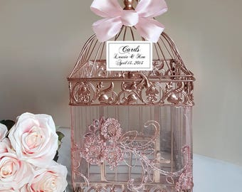 Rose Gold Bird Cage-Wedding card holder
