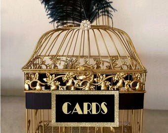 Small Great Gatsby Wedding Card Holder, Gold Bird Cage with Black Ostrich Feathers
