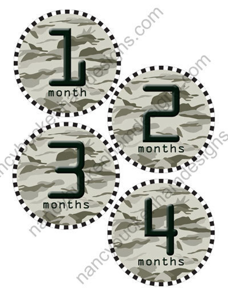Baby Camouflage onesie month to month iron on transfer
