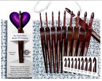 """6"""" Purple Heart Ergonomic Crochet Hook"""