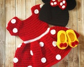 Minnie Mouse Inspired Costume Minnie Mouse Hat Minnie Mouse Costume Available in Newborn to 18 Month Size- MADE TO ORDER