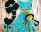 Princess Jasmine Inspired Costume and Matching Doll Princess Jasmine Wig Princess Jasmine Photo Prop Newborn to 12 Month Size- MADE TO ORDER
