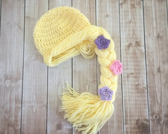Princess Rapunzel Inspired Hat/ Crochet Princess Rapunzel Wig/ Available in Newborn to Child Size- MADE TO ORDER