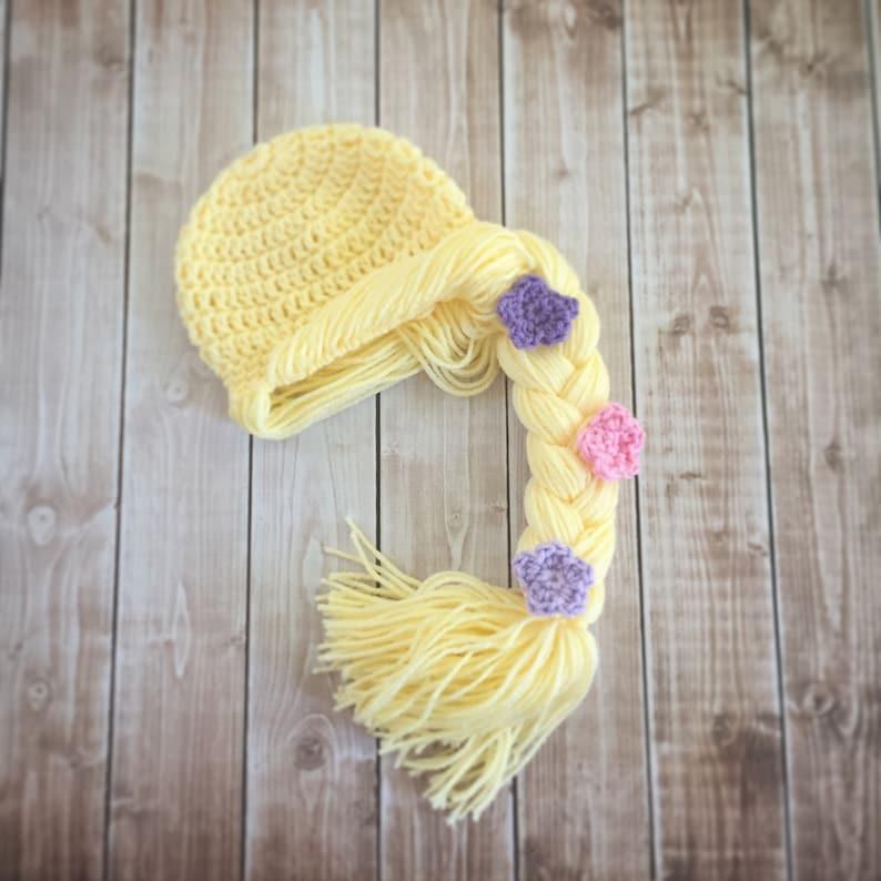 Princess Rapunzel Inspired Hat/ Crochet Princess Rapunzel Wig/ image 0