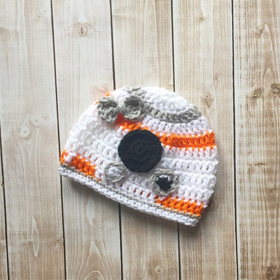 32c78c6a124 Girl BB8 Inspired Hat with Bow  BB8 Costume  BB8 Beanie  Star