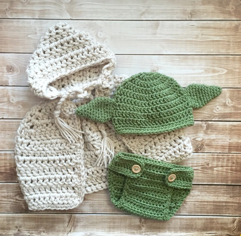 9dfabcc9ed9 Yoda Inspired Hat Cape with Matching Diaper Cover Yoda