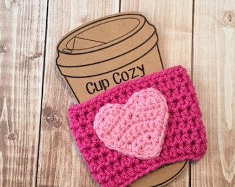 Valentine's Day Coffee Cup Cozy/Coffee Cup Cozies/Heart Coffee Cup Cozy/Crochet Coffee Cup Cozy in Hot Pink and Light Pink- MADE TO ORDER