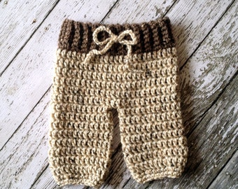 Crochet Baby Pants- Diaper Cover in Barley and Oatmeal Available in Newborn to 6 Month Size- MADE TO ORDER