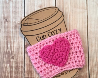 Valentine's Day Coffee Cup Cozy/Coffee Cup Cozies/Heart Coffee Cup Cozy/Crochet Coffee Cup Cozy in Light Pink and Hot Pink- MADE TO ORDER
