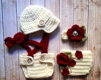 Twin Photography Prop Set in Ecru, Cranberry and Olive Green Available in 4 Sizes- MADE TO ORDER