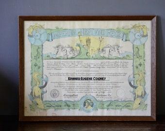 1944 Imperivm Neptvni Regis Navy Certificate Crossing Equator Framed