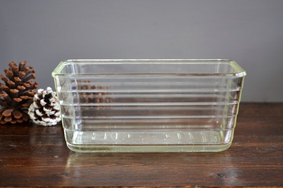 4 Qt Large Glasbake Clear Ribbed Rectangular Refrigerator