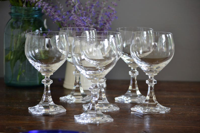 Six Hexagonal Clear Wine Glasses 8 ounce Crystal / Hexagon faceted knob