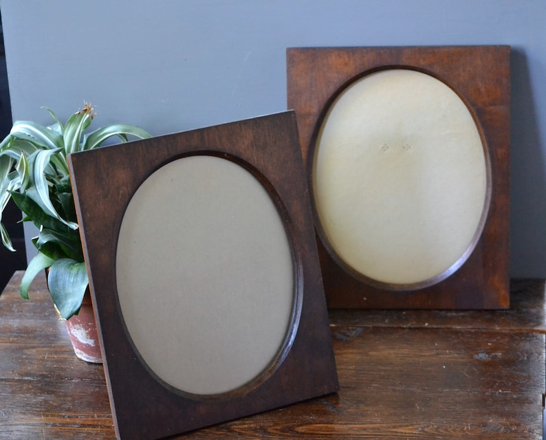 Walnut Stained Wood Wall Picture Frames Oval Center Two 2