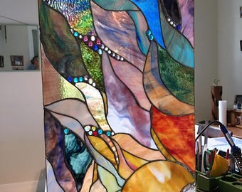 .67sf Kokomo Opalescent Combination Stained Glass Sheet Dark Sage Green-white 8 X 12