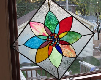 Color Wheel stained glass panel with HIGH END art Glass Oooo La La    SOLD