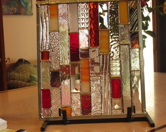 Orange and Rasberry ICE   Stained Glass panel with super lovely clearT texture and rich color
