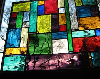 stained glass Water Color Stained Glass panel CUSTOM  just for you...