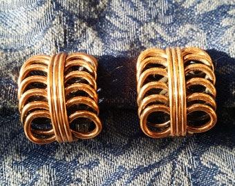STYLISH Copper Designer Clip Earrings by Renoir VINTAGE