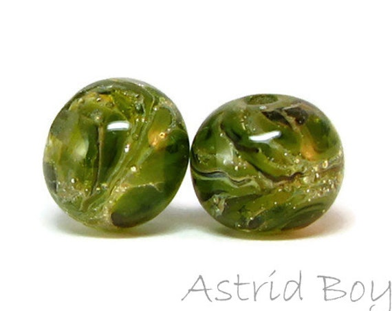 Olive Drift Rounds Artisan Lampwork Bead Pair-Gorgeous transparent olive glass with fine Italian silver over crystal clear transparent glass