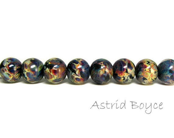 Dark Autumn Rounds artisan lampwork beads - Ready to Ship - Reactive glass encased in crystal clear glass in autumn colors - Unique and OOAK
