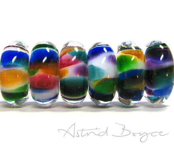 Artisan Lampwork Rainbow Button Disks Glass Beads to Create Amazing Thank You Gift for Her or Gift for Mom with Pantone Blue or Boho Look