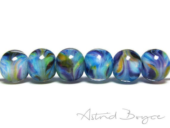 Twilight Grove Blue Twilight Artisan Lampwork Bead Set - Lovely Pantone Niagara Blue Beads -Wisps of Purple and Primrose under Crystal Glass