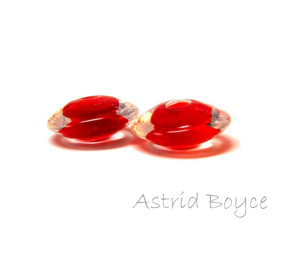 Brilliant Scarlet Disks Artisan Lampwork Glass Bead Pair - disk shape - Free USA Shipping - Glass for Necklaces - Opaque Red and Clear Glass