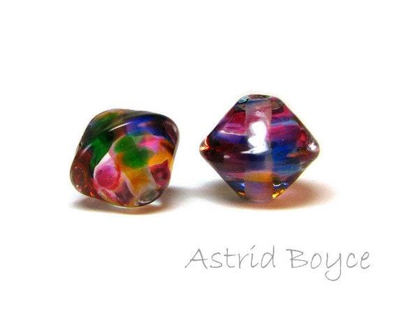 Diamond Rainbow Artisan Lampwork Glass Bead Pair - bicone shape - Free USA Shipping-Glass for Necklaces -Purple Green Blue Transparent Glass