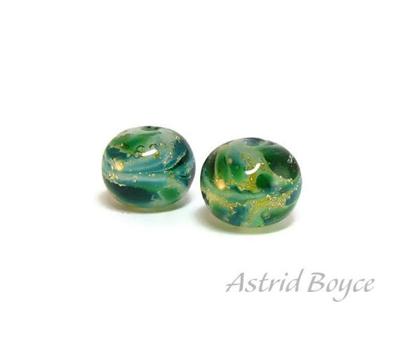 Winter Winds artisan glass beads  -  Free USA Shipping - Macrame - Crafting -Make a Winter Necklace or Earrings-Can use 2mm Cord -Blue Green