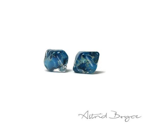 Tiny Blue Jewels Artisan lampwork bead pair - Small 10mm handcrafted beads in a crystal shape  -  Italian fine silver inclusions under glass